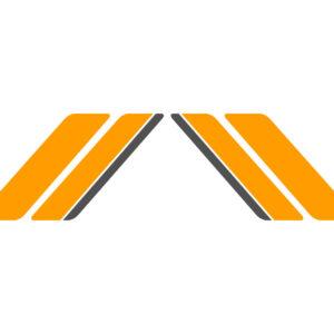 Stickerset bestaande uit Racing Sixties oranje / antraciete striping voor zijvlak | Vespa Sprint / Primavera